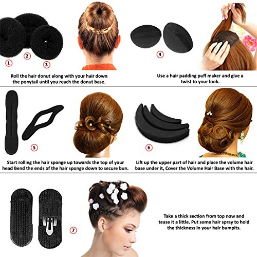 e lv 7 pieces hair styling accessories kit in 1 pack black