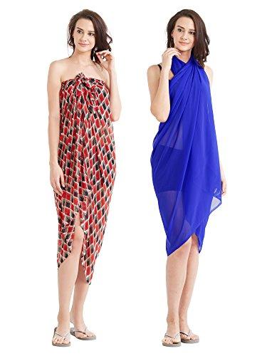 Women s Set of 2 Sarongs Red e9b766337