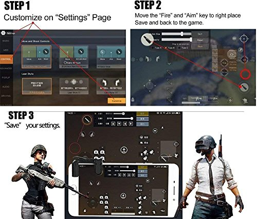 KACOOL Adults and Kid's Triggers Fortnite PUBG Mobile Controller with  Gaming Trigger Fire Button Aim Key (FDH202, 2 Pcs)