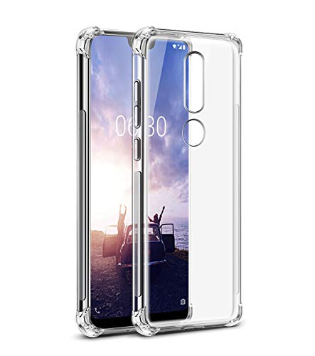 wholesale dealer 93e24 7c525 Tarkan Nokia 6.1 Plus Case - Shock Proof Protective Soft Transparent Back  Cover for Nokia 6 Plus [Bumper Corners with Air Cushion Technology] Crystal  ...